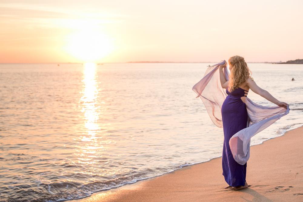 Photos de grossesse à la mer, Pornichet